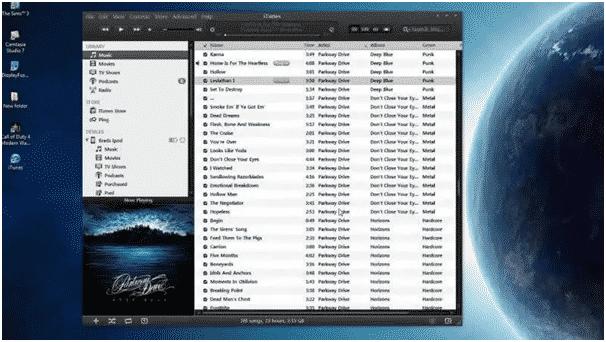 iTunes Dark Mode windows