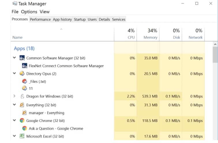 Acresso Software Manager in task manager